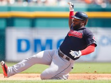 DETROIT, MI - SEPTEMBER 6: Abraham Almonte #35 of the Cleveland Indians slides into third base with a triple during the fifth inning of the game against the Detroit Tigers on September 6, 2015 at Comerica Park in Detroit, Michigan. (Photo by Leon Halip/Getty Images)