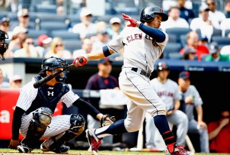 NEW YORK, NY - AUGUST 23:  Francisco Lindor #12 of the Cleveland Indians bats against the New York Yankees during their game at Yankee Stadium on August 23, 2015 in New York City.  (Photo by Al Bello/Getty Images)