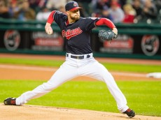 CLEVELAND, OH - OCTOBER 3: Starting pitcher Corey Kluber #28 of the Cleveland Indians pitches during the first inning against the Boston Red Sox at Progressive Field on October 3, 2015 in Cleveland, Ohio. (Photo by Jason Miller/Getty Images)