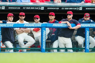 CLEVELAND, OH - OCTOBER 4: Trevor Bauer #47 Mike Aviles #4 Jason Kipnis #22 Carlos Carrasco #59 Yan Gomes #10 Corey Kluber #28 of the Cleveland Indians watch from the dugout during the eighth inning against the Boston Red Sox at Progressive Field on October 4, 2015 in Cleveland, Ohio. (Photo by Jason Miller/Getty Images)  *** Local Caption *** Trevor Bauer; Mike Aviles; Jason Kipnis; Carlos Carrasco; Yan Gomes; Corey Kluber
