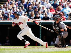 CLEVELAND, OH - SEPTEMBER 20:  Ryan Raburn #9 of the Cleveland Indians bats against the Chicago White Sox during the first inning of their game on September 20, 2015 at Progressive Field in Cleveland, Ohio. The Indians defeated the White Sox 6-3.   (Photo by David Maxwell/Getty Images)