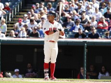 CLEVELAND, OH - SEPTEMBER 20:  Michael Brantley #23 of the Cleveland Indians bats against the Chicago White Sox during the first inning of their game on September 20, 2015 at Progressive Field in Cleveland, Ohio.  The Indians defeated the White Sox 6-3.  (Photo by David Maxwell/Getty Images)