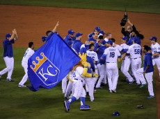 in game six of the 2015 MLB American League Championship Series at Kauffman Stadium on October 23, 2015 in Kansas City, Missouri.