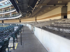 The seats have already been removed from behind home plate.