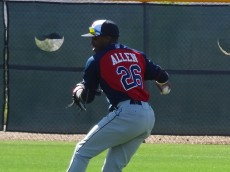 Allen warms during MiLB Spring Training in Goodyear, AZ. - Joseph Coblitz, BurningRiverBaseball