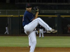 Sheffield pitches in the AZL in 2015. - Joseph Coblitz, BurningRiverBaseball