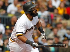 PITTSBURGH, PA - SEPTEM BER 13:  Pedro Alvarez #24 of the Pittsburgh Pirates hits a home run in the second inning during the game against the Milwaukee Brewers at PNC Park on September 13, 2015 in Pittsburgh, Pennsylvania.  (Photo by Justin K. Aller/Getty Images)