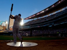 MINNEAPOLIS, MN - AUGUST 15: Roberto Perez #55 of the Cleveland Indians warms up in the fourth inning during MLB game action against the Minnesota Twins on August 15, 2015 at Target Field in Minneapolis, Minnesota. (Photo by Andy Clayton-King/Getty Images)