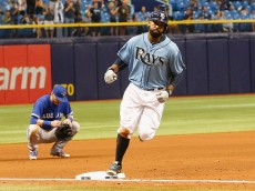 ST PETERSBURG, FL - OCTOBER 4:  Joey Butler #9 of the Tampa Bay Rays rounds third base after a home run during the fifth inning of game between the Tampa Bay Rays and the Toronto Blue Jays at Tropicana Field on October 4, 2015 in St. Petersburg, Florida. (Photo by Scott Iskowitz/Getty Images)