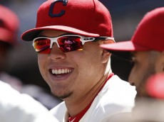 CLEVELAND, OH - SEPTEMBER 20:  Giovanny Urshela #39 of the Cleveland Indians watches from the dugout against the Chicago White Sox during the first inning of their game on September 20, 2015 at Progressive Field in Cleveland, Ohio.   The Indians defeated the White Sox 6-3.  (Photo by David Maxwell/Getty Images)