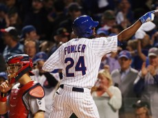 CHICAGO, IL - OCTOBER 12:  Dexter Fowler #24 of the Chicago Cubs reacts after hitting a solo home run in the eighth inning against the St. Louis Cardinals during game three of the National League Division Series at Wrigley Field on October 12, 2015 in Chicago, Illinois.  (Photo by Jonathan Daniel/Getty Images)