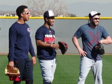 Jason Kipnis, Michael Brantley and Francisco Lindor hanging out on Pitchers and Catchers Day 2016 - Joseph Coblitz, BurningRiverBaseball