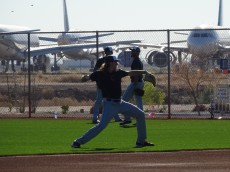 Mike Clevinger warms up before throwing a session on 2/17/16 in Goodyear, AZ. - Joseph Coblitz, BurningRiverBaseball