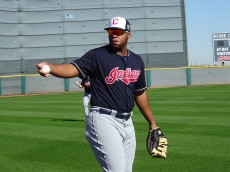 Aguilar warms up in Spring Practice in Goodyear, AZ. - Joseph Coblitz, BurningRiverBaseball