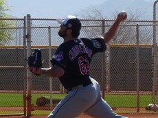 Chamberlain throws in the midge-free Arizona sunshine. - Joseph Coblitz, BurningRiverBaseball