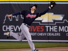 DETROIT, MI - APRIL 22:  Lonnie Chisenhall #8 of the Cleveland Indians reaches out to catch a foul fly ball hit by Jose Iglesias of the Detroit Tigers for an out during the sixth inning at Comerica Park on April 22, 2016 in Detroit, Michigan. (Photo by Duane Burleson/Getty Images)