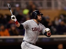 MINNEAPOLIS, MN - APRIL 27: Jason Kipnis #22 of the Cleveland Indians hits a two-run double against the Minnesota Twins during the fifth inning of the game on April 27, 2016 at Target Field in Minneapolis, Minnesota. (Photo by Hannah Foslien/Getty Images)