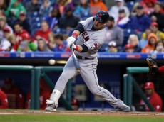 PHILADELPHIA, PA - APRIL 29: Jason Kipnis #22 of the Cleveland Indians grounds out in the first inning during a game against the Philadelphia Phillies at Citizens Bank Park on April 29, 2016 in Philadelphia, Pennsylvania. (Photo by Hunter Martin/Getty Images)