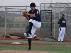 Lovegrove winds up during a 2013 Arizona Rookie League game. - Joseph Coblitz, BurningRiverBaseball
