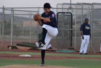 Lovegrove winds up during a 2013 Arizona Rookie League game. - Joseph Coblitz, BurningRiverBaseball