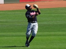 Davis makes a catch in left field during MLB Spring action. - Jennifer Coblitz, BurningRiverBaseball