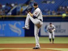ST. PETERSBURG, FL - JULY 1:  Carlos Carrasco #59 of the Cleveland Indians pitches during the first inning of a game against the Tampa Bay Rays on July 1, 2015 at Tropicana Field in St. Petersburg, Florida.  (Photo by Brian Blanco/Getty Images)