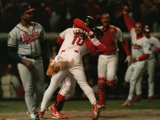 24 OCT 1995:  ALVARO ESPINOZA OF THE CLEVELAND INDIANS IS CONGRATULATED BY TEAMMATE JIM THOME AS TEAMMATES RUN TO JOIN THE CELEBRATION AFTER SCORING THE WINNING RUN IN THE ELEVENTH INNING OF GAME THREE OF THE 1995 WORLD SERIES AGAINST THE ATLANTA BRAVES A