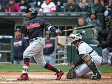 CHICAGO, IL - APRIL 08:  Rajai Davis #20 of the Cleveland Indians hits a run scoring triple in the 2nd inning against the Chicago White Sox during the home opener at U.S. Cellular Field on April 8, 2016 in Chicago, Illinois. The Indians defeated the White Sox 7-1.  (Photo by Jonathan Daniel/Getty Images)