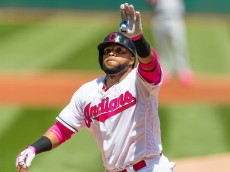 CLEVELAND, OH -  MAY 8: Carlos Santana #41 of the Cleveland Indians waves to the fans after hitting a solo home run during the first inning against the Kansas City Royals at Progressive Field on May 8, 2016 in Cleveland, Ohio. (Photo by Jason Miller/Getty Images)