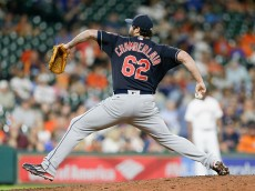 HOUSTON, TX - MAY 09:  Joba Chamberlain #62 of the Cleveland Indians pitches in the sixth inning against the Houston Astros at Minute Maid Park on May 09, 2016 in Houston, Texas.  (Photo by Bob Levey/Getty Images)