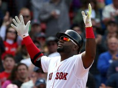 BOSTON, MA - MAY 22:  David Ortiz #34 of the Boston Red Sox reacts after his home run in the fifth inning against the Cleveland Indians at Fenway Park on May 22, 2016 in Boston, Massachusetts.  (Photo by Jim Rogash/Getty Images)