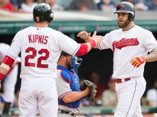 CLEVELAND, OH -  JUNE 1: Jason Kipnis #22 celebrates with Mike Napoli #26 of the Cleveland Indians after both scored on a home run by Napoli during the first inning against the Texas Rangers at Progressive Field on June 1, 2016 in Cleveland, Ohio. (Photo by Jason Miller/Getty Images)