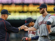 SEATTLE, WA - JUNE 07:  Starting pitcher Cody Anderson #56 of the Cleveland Indians is removed from the game by manager Terry Francona #17 against the Seattle Mariners in the fourth inning at Safeco Field on June 7, 2016 in Seattle, Washington.  (Photo by Otto Greule Jr/Getty Images)