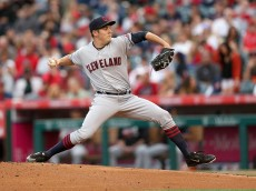 ANAHEIM, CA - JUNE 11:  Trevor Bauer #47 of the Cleveland Indians throws a pitch against the Los Angeles Angels of Anaheim at Angel Stadium of Anaheim on June 11, 2016 in Anaheim, California.  (Photo by Stephen Dunn/Getty Images)