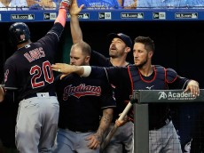 KANSAS CITY, MO - JUNE 15:  Rajai Davis #20 of the Cleveland Indians is congratulated by teammates in the dugout after hitting a two-run home run during the 5th inning of the game against the Kansas City Royals at Kauffman Stadium on June 15, 2016 in Kansas City, Missouri.  (Photo by Jamie Squire/Getty Images)