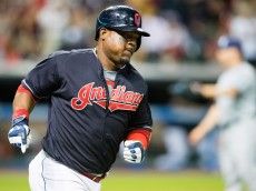 CLEVELAND, OH -  JUNE 21: Juan Uribe #4 of the Cleveland Indians rounds the bases after hitting a solo home run during the eighth inning against the Tampa Bay Rays at Progressive Field on June 21, 2016 in Cleveland, Ohio. (Photo by Jason Miller/Getty Images)