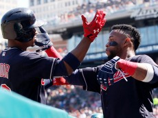 DETROIT, MI - JUNE 25:  Francisco Lindor #12 of the Cleveland Indians is congratulated by Carlos Santana #41 of the Cleveland Indians after hitting a solo home run against the Detroit Tigers during the first inning at Comerica Park on June 25, 2016 in Detroit, Michigan. (Photo by Duane Burleson/Getty Images)