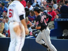ATLANTA, GA - JUNE 29: Lonnie Chisenhall #8 of the Cleveland Indians rounds the bases after hitting a sixth inning solo home run against Joel de la Cruz #60 of the Atlanta Braves at Turner Field on June 29, 2016 in Atlanta, Georgia. (Photo by Scott Cunningham/Getty Images)