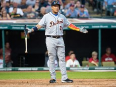 CLEVELAND, OH -  JULY 5: Miguel Cabrera #24 of the Detroit Tigers reacts after he is thrown out at first on a ground ball to third during the sixth inning against the Cleveland Indians at Progressive Field on July 5, 2016 in Cleveland, Ohio. (Photo by Jason Miller/Getty Images)