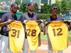 CLEVELAND, OH -  JULY 10: Danny Salazar #31 Corey Kluber #28 and Francisco Lindor #12 of the Cleveland Indians show off their All Star jerseys prior to the game against the New York Yankees at Progressive Field on July 10, 2016 in Cleveland, Ohio. The Yankees defeated the Indians 11-7. (Photo by Jason Miller/Getty Images)  *** Local Caption *** Danny Salazar; Corey Kluber; Francisco Lindor
