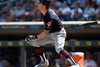 MINNEAPOLIS, MN - JULY 17: Tyler Naquin #30 of the Cleveland Indians watches after hitting a solo home run against the Minnesota Twins during the eighth inning of the game on July 17, 2016 at Target Field in Minneapolis, Minnesota. The Indians defeated the Twins 6-1. (Photo by Hannah Foslien/Getty Images)