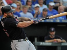KANSAS CITY, MO - JULY 19:  Mike Napoli #26 of the Cleveland Indians hits a two-run home run in the first inning against the Kansas City Royals at Kauffman Stadium on July 19, 2016 in Kansas City, Missouri. (Photo by Ed Zurga/Getty Images) *** Local Caption *** Mike Napoli