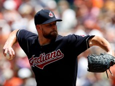 BALTIMORE, MD - JULY 24: Corey Kluber #28 of the Cleveland Indians works in the first inning against the Baltimore Orioles at Oriole Park at Camden Yards on July 24, 2016 in Baltimore, Maryland. (Photo by Matt Hazlett/Getty Images)