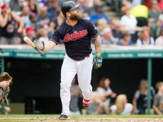 CLEVELAND, OH -  JULY 31: Mike Napoli #26 of the Cleveland Indians hits a two run home run during the third inning against the Oakland Athletics at Progressive Field on July 31, 2016 in Cleveland, Ohio. (Photo by Jason Miller/Getty Images)  *** Local Caption *** Mike Napoli