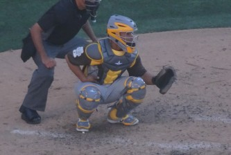 Mejia behind the plate during the 2016 Futures Game.  - Joseph Coblitz, BurningRiverBaseball