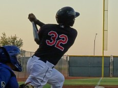 Gonzalez hits an opposite field home run during an AZL game in 2016. - Joseph Coblitz, BurningRiverBaseball