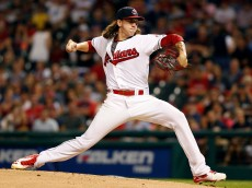 CLEVELAND, OH - AUGUST 13: Mike Clevinger #52 of the Cleveland Indians pitches against the Los Angeles Angels of Anaheim during the first inning at Progressive Field on August 13, 2016 in Cleveland, Ohio. (Photo by David Maxwell/Getty Images) *** Local Caption *** Mike Clevinger