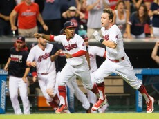 CLEVELAND, OH - AUGUST 19: Tyler Naquin #30 of the Cleveland Indians hits a walk-off inside-the-park home run to defeat the Toronto Blue Jays at Progressive Field on August 19, 2016 in Cleveland, Ohio. The Indians defeated the Blue Jays 3-2. (Photo by Jason Miller/Getty Images)  *** Local Caption *** Tyler Naquin
