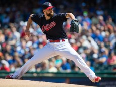 CLEVELAND, OH - AUGUST 21: Starting pitcher Corey Kluber #28 of the Cleveland Indians pitches during the first inning against the Toronto Blue Jays at Progressive Field on August 21, 2016 in Cleveland, Ohio. (Photo by Jason Miller/Getty Images)  *** Local Caption *** Corey Kluber