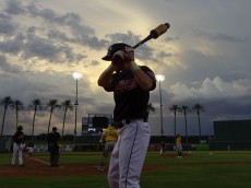 Jones waits on deck at Goodyear Ballpark in a 2016 AZL game against the Athletics. - Joseph Coblitz, BurningRiverBaseball